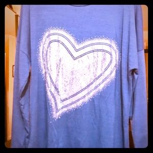 New Bling Blue Long sleeve Soft Pullover T-shirt